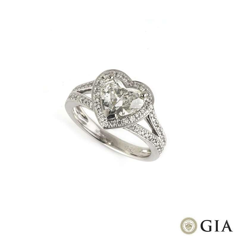 18k White Gold Heart Cut Diamond Ring 1.29ct I/VS2